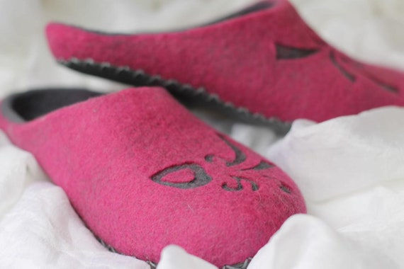gift sister clogs winter soles shoes woolen home summer boots with slippers bedroom felted slippers women cozy warm Pink wool organic xwAOHRqxU