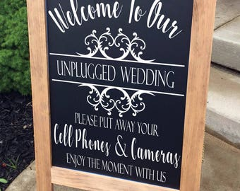 Unplugged Wedding, Wedding Sign, Unplugged Ceremony Sign, Rustic Wood Wedding Sign, No Camera Wedding Sign, Wedding Ceremony Decor