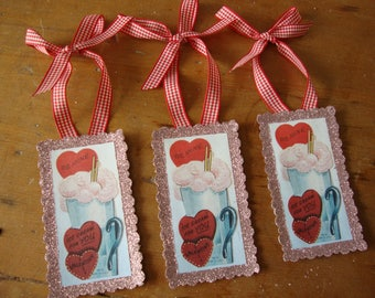Vintage valentine's day tags paper ornaments vintage cards package ties gift wrap embellishments pink glittered gift tags party favors
