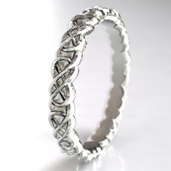 Celtic Infinity Symbol Design in Sterling Silver, Celtic Stacking Ring, Sterling Stackable Ring, Made in Your Size CR-1070