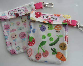 Clear Front Pouch Candy or Fruits & Veggies Emoji Print Holds Epi Pen (AuviQ) Injector Asthma Inhaler First Aid 4x5