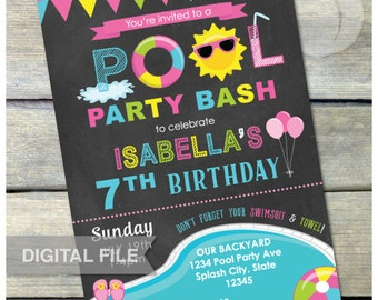 "Pool Birthday Party Invitation Birthday Bash Chalkboard Pink Summer Swim Splash - Digital Invite - 5"" x 7"" Printable"
