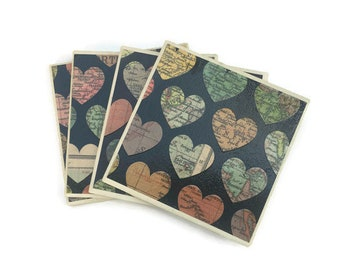 World map heart etsy heart coasters map coasters ceramic tiles housewarming gift travel world map hearts small hostess gift drinkware gumiabroncs Images