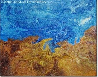 Canvas Art Abstract Acrylic Paintings CONTEMPORARY WALL ART Teal Blue Gold Sand Ocean Abstract Sea Landscape Beach Decor 12x10x1,6 30x24x4cm