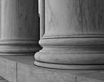 Columns at Jefferson, Fine Art Black and White Photography, Washington DC Art,Washignton dc photography, Washignton dc skyline
