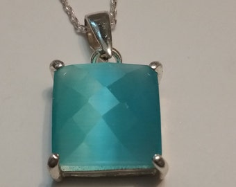 Faceted Blue Glass 925 Necklace