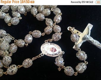 ON SALE Glass Rosary * Vintage Religious Collectible Jewelry * Vintage Filigree Prayer Beads * Mid Century * 1950's 1960's