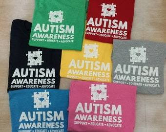 Autism Awareness Support T-shirt! Soft, Full of Love, Support, Fun colors