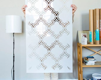 Moroccan Double Wall stencil pattern, large Moroccan Stencil and Geometric stencil for DIY project - wall stencils - Home decor