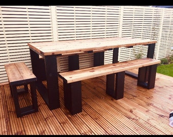 Large rustic Garden table and benches