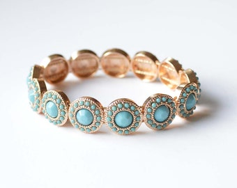 Turquoise Metal Sliders Stretch Bracelet
