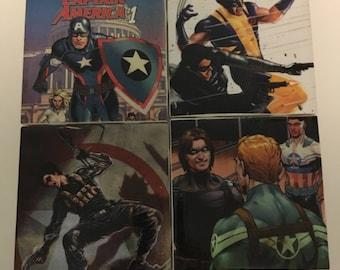 Bucky Barnes Captain America Sam Wilson Wolverine Coasters Set