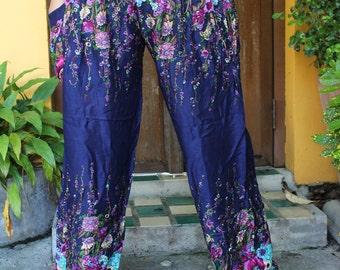 Hippie Yoga Pants Harem pants Flowers Pants design Blue Navy