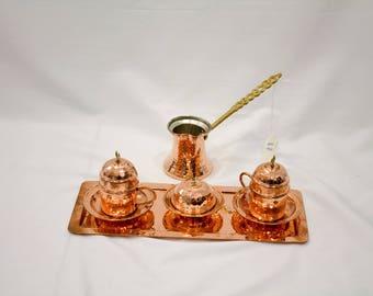 Handmade Copper Turkish Coffee Set, turkish coffee, cezve, coffee cup, coffee maker