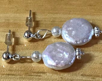Silver Pearl Post Earrings, wedding jewelry, anniversary gift, bride earrings, bridal jewelry, flat pearl earrings, flat pearl dangle