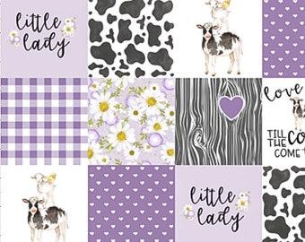 Farm Baby Quilt, Purple Baby Blanket, Girl Crib Bedding, Cow Baby Quilt, Girl Nursery Quilt, Patchwork Baby Girl Blanket, Cow Crib Bedding