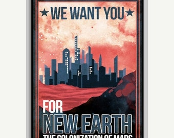 Colonize Mars Space Poster