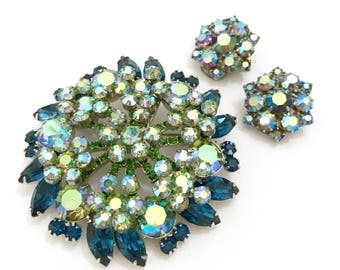 Juliana D&E Floral Demi, Brooch and Earring Set, Blue Green and AB Rhinestones, Silver Tone, Vintage Gift for Her, Special Occasion, Wedding