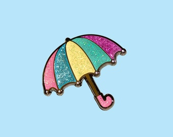Umbrella pin (Pastel). Weather pin, Glitter pin, Enamel pin, Pin badge, Lapel pin, Pastel pin, Hard enamel pin