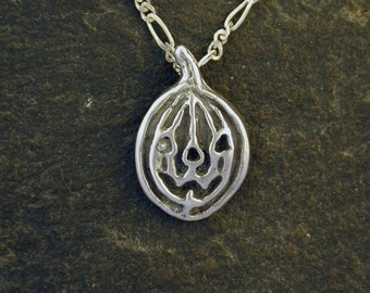 Sterling Silver Pumpkin Jack-o-Lantern Pendant on a Sterling Silver Chain