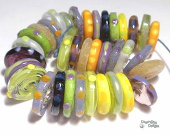 APRIL Lampwork Beads Handmade Colorful Purple Green Yellow Orange  Set of 36