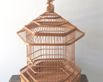 Vintage Wooden Bird Cage with Bird Carvings