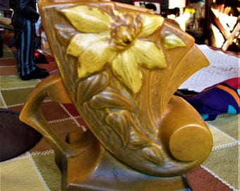 damaged Roseville vase, brown and green cornucopia vase with handle, art pottery vase, clematis vase