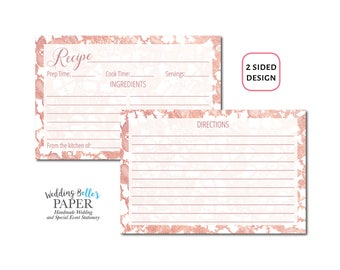 Personalized Recipe Card, Printable Recipe Card, Printed Recipe Card, 4x6 Recipe Card, Bridal Shower Recipe Card
