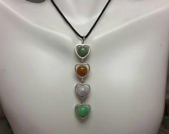 Multi-color jade beads pendant