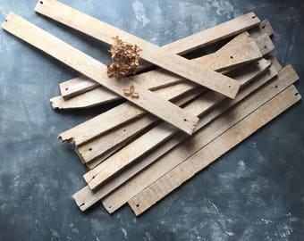 Reclaimed Lath Boards   Antique Salvaged Wood   Set of 14 Lath Slats for Display or Craft Project