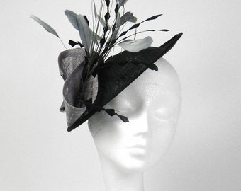Galina Black and Grey Fascinator Hat for Weddings, Races, and Special Events With Headband