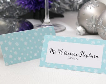 FULL SERVICE Escort Cards Wedding Party Winter Christmas New Years Snowflake Ice- Mint