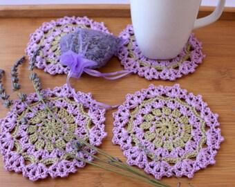 Crochet Coaster PATTERN, DIY Coasters, Crochet Home Decor Pattern, Lavender Flower Decor, Instant Download PDF Pattern #191, Lyubava Crochet