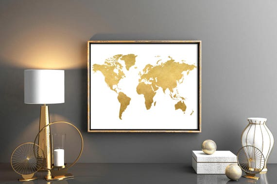 Gold world map world map printable map poster map wall art gold world map world map printable map poster map wall art weltkarte poster poster world map world map nursery print world map 12x16 gumiabroncs Gallery