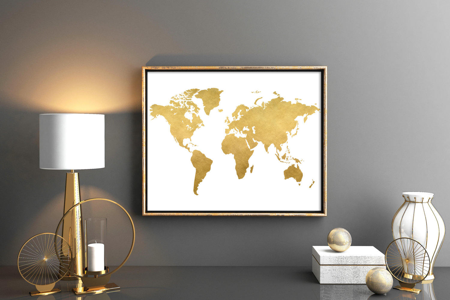 Gold world map world map printable map poster map wall art zoom gumiabroncs Choice Image