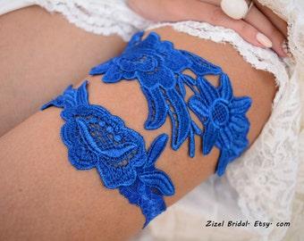 Royal Blue Garter, Wedding Garter Blue, Wedding Garter Set, Something Blue, Handmade Garter, Royal Blue Garter, Lace Bridal Garter, Garters