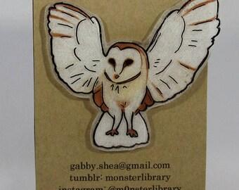 Barn Owl Pin / Limited Edition Hand Drawn & Handmade (Polystyrene) Miniature Art