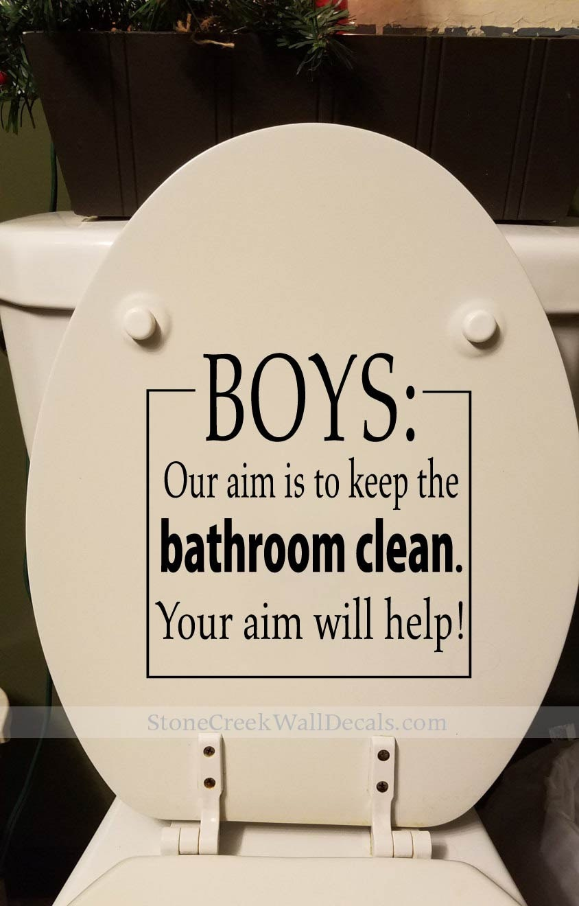 BOYS Our Aim Keep The Bathroom Clean Decal Toilet Decal Bathroom Wall  Decals Bathroom Wall Decal Bathroom Restroom Wall Decor Sticker