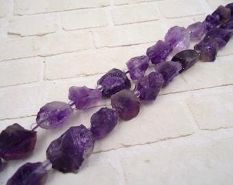 Amethyst Nugget Beads - Amethyst Nugget Strand - Natural Amethyst Bead - Natural Amethyst Strand - Amethyst Gemstone - Purple Amethyst Bead
