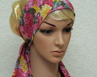 Floral hair scarf, long headband, headscarf, hair covering, self tie floral head scarf 144 x 9 cm