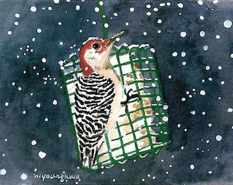 ACEO Limited Edition 1/25 - Woodpecker in falling snow, Bird art print, Small gift for bird lovers,Collectable art