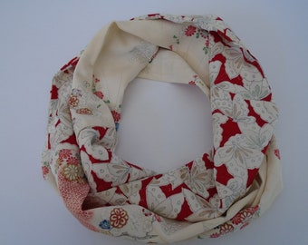Floral Red Butterflies Japanese Silk Infinity Scarf - Vintage Japanese Kimono Fabric