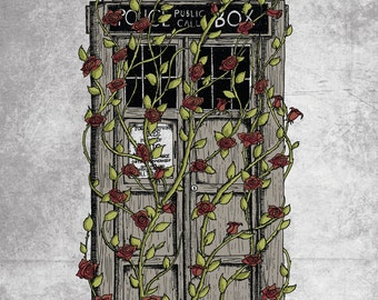 Doctor Who print - Rose - Dr Who Tardis inspired A3 art print poster- grey version