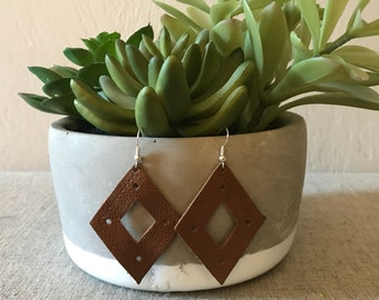 Brown Diamond Leather Cut Out Earrings