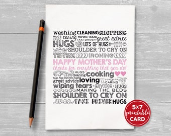 "Printable Card For Mum or Mom - Happy Mother's Day, thanks for everything that you do! - 5""x7""- includes printable envelope"