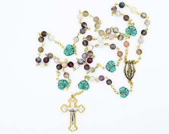 Rosary--Contemporary Handmade Rosary--Gold/Turquoise--Gift for Her--Catholic--Prayer Beads--Inspirational--One of a Kind--Hope--Pray--Faith
