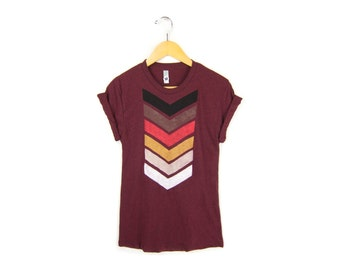 Geo Chevron Tee -  Boyfriend Fit Crew Neck Tshirt with Rolled Cuffs in Heather Cranberry - Women's Size S-4XL