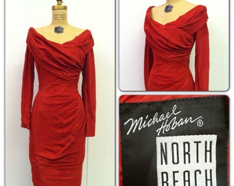 1980s North Beach Suede Dress 80s Michael Hoban