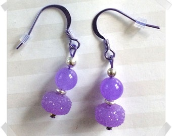 Blurple, yes, blurple Colorsparx Earrings -- Purple Jade, Faceted Acrylic Beads, Sterling Silver on Shiny Purple Findings