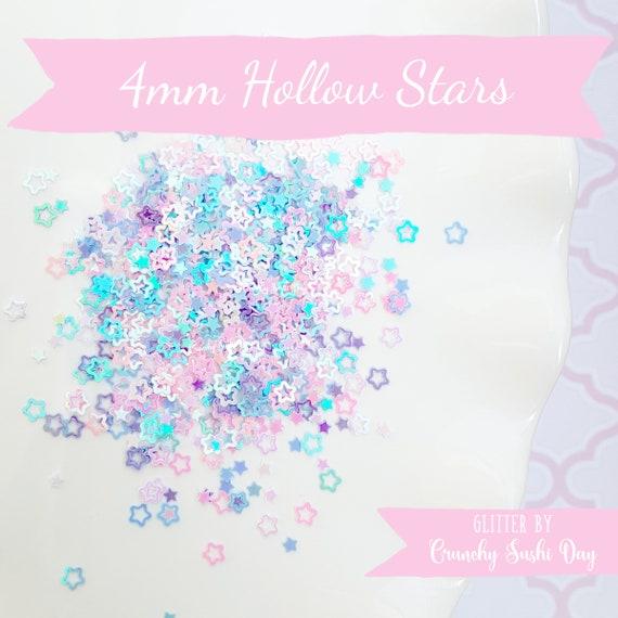5 grams - 4mm Hollow Star Glitter, Pastel Star Glitter, Glitter, Pink, Purple, Blue, Glitter Confetti, Confetti, Kawaii, Resin Glitter